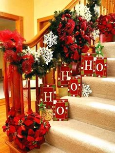 Beautiful Red, White and Green Christmas Decor for a staircase