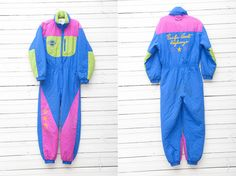 1980s Bright Blue and Green Skirwear Onepiece Snow by CoverVintage, $65.00