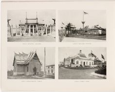 Souvenir book of the Louisiana Purchase Exposition - Page [30]: Italy's beautiful building ; China's brilliant pavilion ; Siam's characteristic temple ; Cuba's comely home [photographic illustrations]