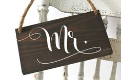 Wooden Mr Mrs Wedding Chair Signs / Rustic by SweetNCCollective