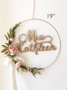 Excited to share this item from my #etsy shop: Girl Nursery Wreath, Blush Baby Shower Wreath, Baby Shower Wreath with Name, Modern Nursery Wreath, Farmhouse Style Wreath