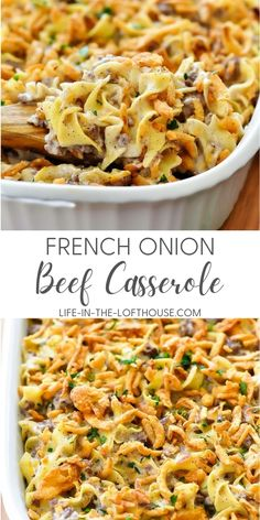French Onion Beef Casserole is filled with beef, French onion dip and noodles. Life-in-the-Lofthouse.com Beef Dishes, Food Dishes, Main Dishes, Side Dishes, Beef Casserole Recipes, Onion Casserole, Rice Casserole, Ground Beef Casserole, Casseroles With Ground Beef