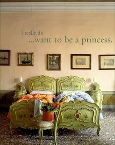 I want one of those beds! I also wish my room as a little girl was this majestic.