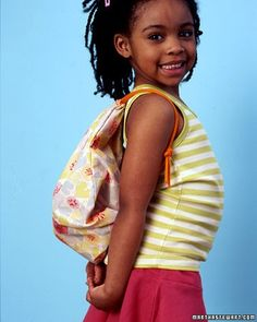 Summer means lots of water, lots of swimming -- and a backpack for carrying things like towels and sunscreen to the beach or pool. Your child could use her school backpack, but why not make a fresh, pretty one -- you can even coordinate it with her bathing suit. Ours is washable and lined with water-resistant nylon, and it takes only an hour to complete.