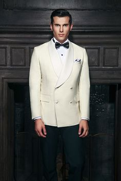 Off-white double breasted four button tuxedo with shawl collar lapel<br> White Tuxedo Wedding, Ivory Tuxedo, Groom Tuxedo, White Tuxedo Jacket, Tuxedo Dress, Tuxedo Suit, Double Breasted Tuxedo, Double Breasted Jacket, Mens Fashion Suits