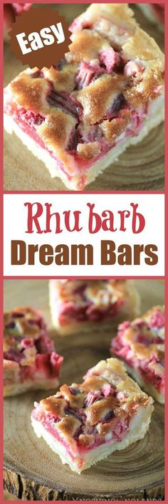 Rhubarb Dream Bars by Noshing With The Nolands - A creamy. Rhubarb Dream Bars by Noshing With The Nolands - A creamy rhubarb custard nestled into a flaky butter crust. The perfect spring dessert recipe. Brownie Desserts, Just Desserts, Delicious Desserts, Yummy Food, Rhubarb Desserts Easy, Gluten Free Rhubarb Recipes, Rhubarb Crisp Recipe, Frozen Rhubarb Recipes, Rhubarb Dishes