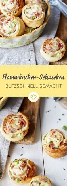 Schnell, schneller, blitzschnelle Flammkuchen-Schneckchen – direkt auf die Hand … Fast, faster, lightning-fast Tarte Flambée – right on the hand and so delicious that small and large have nothing to complain about. Party Finger Foods, Snacks Für Party, Snacks Pizza, Quick Party Food, Holiday Snacks, Pizza Pizza, Party Desserts, Brunch Recipes, Snack Recipes