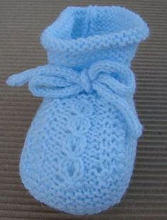 tutorial para hacer patucos de punto, video e instrucciones, baby booties english pattern