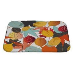 Gear New Leaves Leaf Pattern with Warm Colors of Autumn Bath Mat/Rug Size: