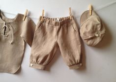 Boys linen shorts beige knocher style pants toddler by EcoEmi