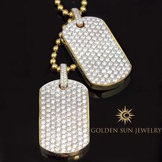 GOLDEN SUN JEWELRY: Our Russian Cut Pave diamond dog tags. 13.50ct. each!