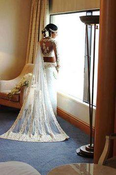 Lace bridal sari