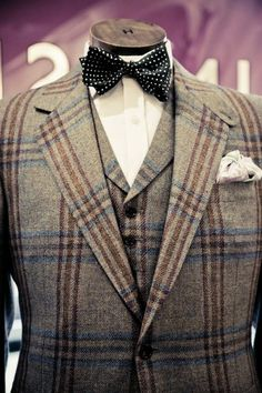 Tweed jacket and waistcoat with bow tie