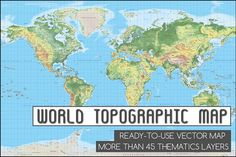 Topographic World Vector Map by Cartorical on @creativemarket