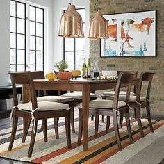 Cabria Honey Brown Extension Dining Table | Crate and Barrel