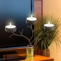 3 Tea Light Branches Wine Bottle Candelabra, from HomeWetBar.com
