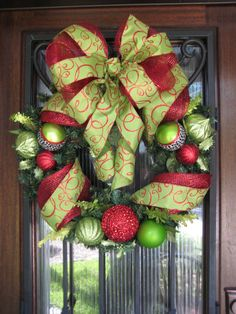 Red and Lime Green Christmas Wreath, Ornaments, Ribbon, Deco Mesh