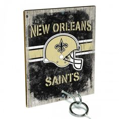 Team Toss for New Orleans Saints fans from Team ProMark is a fun and addictive game that's easy to learn but difficult to master. Toss the ring on the eye hook and score a point. The vintage team board designs make a great addition to any fan cave or game room wall. Play individually or pair up for teams while the gang is over watching the game.