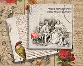FRENCH VINTAGE ROMANCE - 3.8x3.8 inch Digital Collage Sheet Printable Download for Coasters Magnets Greeting Cards (available 4x4 inch)