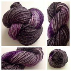 ~ only 1 leftThese are super bulky - great for projects you'd like to finish quickly.  I've had customers make adorable beanies from this weight.  <3Color(s): purple, black, gray  (I use only professional grade dyes) Fiber(s): 100% superwash merinoWeight: super bulkyLength/yardage:  /- 106 yards, 100g skein, 3-plyCare instructions: machine washable, lay flat to drySIMILAR color can be reproduced. It won't be an exact match.NOTE: all my hand-dyed and/or han...