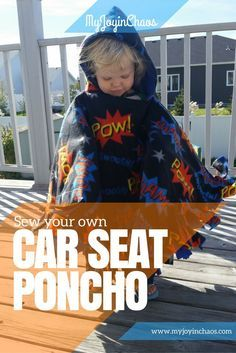 Sew your own car seat poncho to keep your kids safe and warm in the car. This DIY car seat poncho is reversible with double layers of warm fleece for even the coldest of days. Sewing Projects For Kids, Sewing For Kids, Baby Sewing, Diy Projects, Fleece Tie Blankets, Fleece Poncho, Fleece Hats, Hooded Poncho, Poncho Sweater