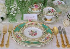 Vintage china dinner, entree and side plates with 24ct gold plated vintage cutlery.  All available to hire for weddings, celebrations and dining in the grand style.