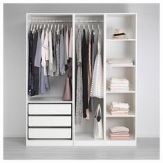 See more ideas about open wardrobe, ikea wardrobe and wardrobe storage. Ikea Open Wardrobe, Ikea Pax Closet, Diy Wardrobe, Wardrobe Storage, Small Wardrobe, Wardrobe Ideas, Wardrobe Systems, Open Closets, Closet Doors
