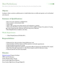 phlebotomy resume sample and tips phlebotomy stuff pinterest