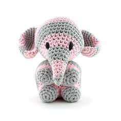 Crochet elephant made using hooked zpaghetti yarn. Use google translate. (Pattern available to purchase).