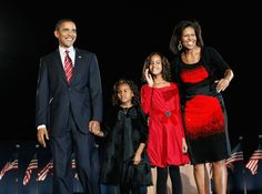 November 2008 ~ The Obama Family on election night in Chicago ~ appropriately all smiles and appropriately synced in their attire.