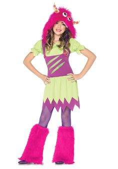 cute girl costume ideas | Girls Fuzzy Wuzzy Cute Monster Costume - Kids Classic Monster Costumes