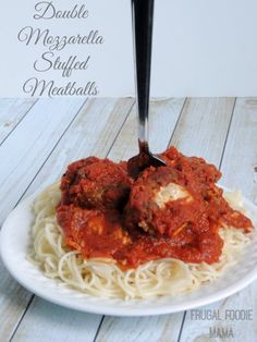 Double Mozzarella Stuffed Meatballs by Frugal Foodie Mama