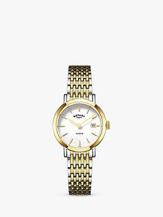 Buy Rotary Women's Windsor Date Bracelet Strap Watch, Silver/Gold from our Women's Watches range at John Lewis & Partners. Rotary Watches, Ladies Watches, Beautiful Watches, Timeless Elegance, Stainless Steel Case, Fashion Bracelets, Windsor, Bracelet Watch, Old Things