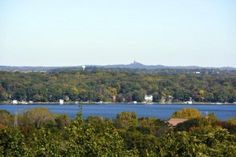 Looking north over Pewaukee Lake and on to Holy Hill in the background
