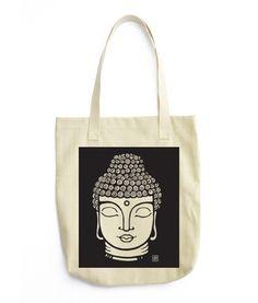 Buddha - Black - All-purpose natural cotton tote bag.