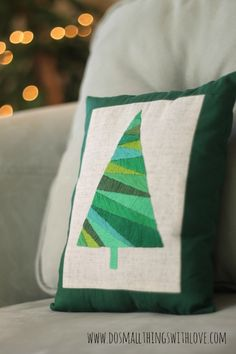 DIY Satin Stitch Christmas Tree Pillow TUTORIAL… Love this! #christmas #crafts #gifts