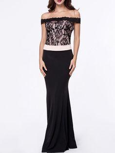 Courtly Off Shoulder Decorative Lace Color Block Prom Dresse
