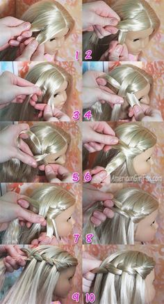 American Girl Doll Hairstyle: Waterfall Twist Braid! | AmericanGirlFan | Bloglovin' #dollhairstyles #twistBraids