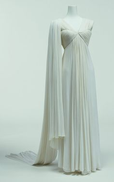 Evening Dress, Madame Grès: ca. 1944, one-piece cut of silk jersey finely pleated.