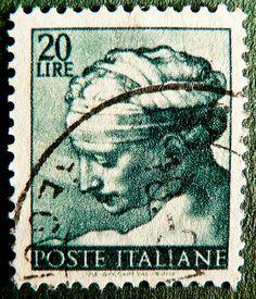 stamp Italy 20 lire green Italia