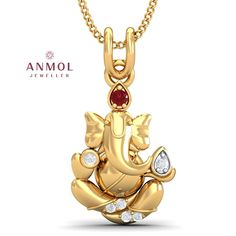 Yellow Gold Over 925 Sterling Silver Round Red Ruby amp White Cz Ganesha Pendant Gold Temple Jewellery, Fancy Jewellery, Gold Rings Jewelry, Gold Bangles, Bling Jewelry, Jewelry Accessories, Fashion Accessories, Gold Pendant Necklace, Diamond Pendant