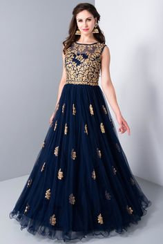 Wedding Dress Gown, Rent KALKI Midnight Blue Embroidered Ethnic Gown at Flyrobe Indian Wedding Gowns, Indian Gowns Dresses, Indian Outfits, Wedding Dress, Indian Clothes, Party Wedding, Designer Gowns, Indian Designer Wear, Luxury Designer