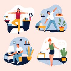 Training at home concept Free Vector Tiger Illustration, Illustration Story, People Illustration, Illustrations, Character Illustration, Astronaut Suit, People Working Together, Graphic Design Templates, Ppt Design