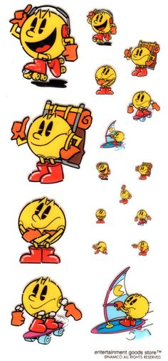 "(ナムコ「パックマン」シール(透明タイプ): MIPのレトロゲームグッズコレクションから) ■namco ""Pac-Man"" (Arcade) Character Sticker(Seal)■ If I want to see the big picture here!→http://acimon.cocolog-nifty.com/acimon/"