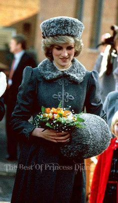 Princess Diana Arriving At Gloucestershire Cathedral For A Christmas Service Wearing A Kossack Style Russian Hat And Muff, December ?