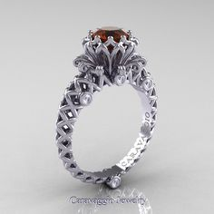 Caravaggio Lace 14K White Gold 1.0 Ct Brown and White Diamond Engagement Ring…