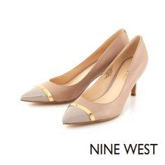 NINE WEST 俐落簡約風格 同色系皮革拼接高跟鞋-必備駝 - Yahoo!奇摩購物中心