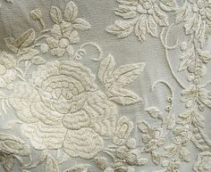 Detail, hand-embroidered silk cloak, via Vintagetextiles.com