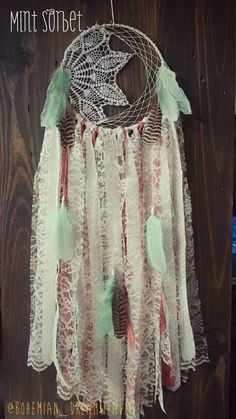 Boho Mint Coral Dream Catcher- Hippie Large- woodland nursery decor - Bohochic- doily Dreamcatcher - gypsy - gifts for teen Dream Catcher Nursery, Dream Catcher Mobile, Bedknobs And Broomsticks, Mobiles, Lace Dream Catchers, Bee Creative, Mint Coral, Teen Girl Gifts, Boho Wedding Decorations