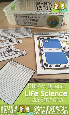 This Cross-Curricular STEAM based Science Lab Station/Center pack includes SEVEN station bundles with over 40 station sets aligned to NGSS (Next Generation Science Standards) covering: scientific method, cells, genetics, evolution, classification, human body, and ecology.  Our STEAM stations are great for enrichment, differentiation, assessment, group activities, mini-labs, and more! Each unit includes directions for each activity, answer keys, station signs, and student answer sheets.